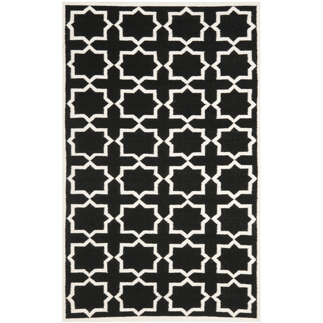 Safavieh Moroccan Reversible Dhurrie Black/Ivory Cross-Patterned Wool Rug (8' x 10')
