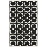 Safavieh Moroccan Reversible Dhurrie Black/Ivory Cross-Patterned Wool Rug (8' x 10')
