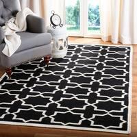 Safavieh Moroccan Reversible Dhurrie Black/Ivory Cross-Patterned Wool Rug - 8' X 10'