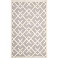 Safavieh Hand-woven Moroccan Reversible Dhurrie Grey/ Ivory Wool Rug (8' x 10')