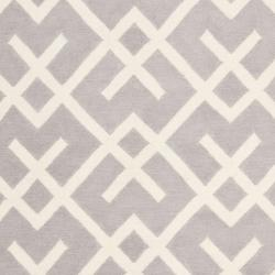Safavieh Hand-woven Moroccan Reversible Dhurrie Grey/ Ivory Wool Rug (8' x 10') - Thumbnail 2