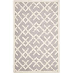 Safavieh Hand-woven Moroccan Reversible Dhurrie Grey/ Ivory Wool Rug (5' x 8')
