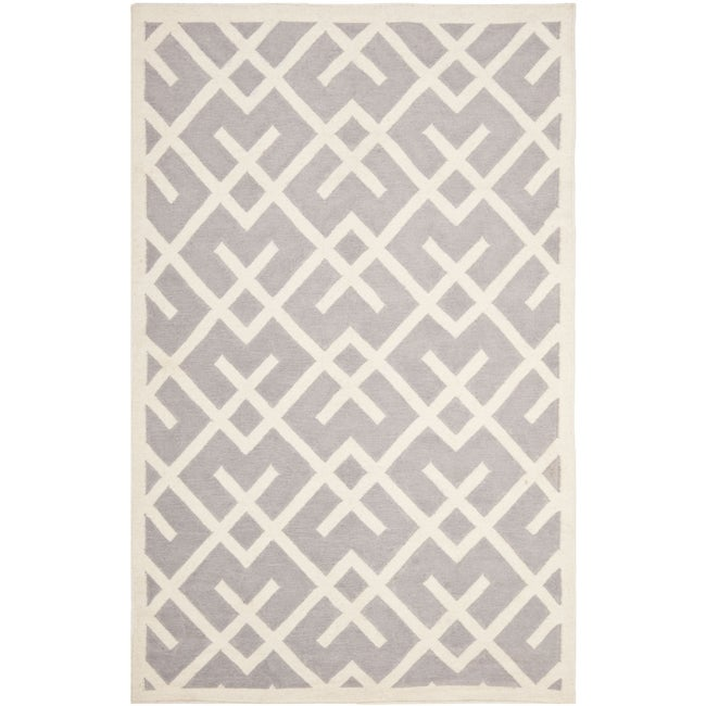Safavieh Hand Woven Moroccan Reversible Dhurrie Grey Ivory Wool Rug 5 X