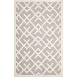 Safavieh Handwoven Moroccan Reversible Dhurrie Geometric-pattern Grey/ Ivory Wool Rug - 10' x 14' - Thumbnail 0