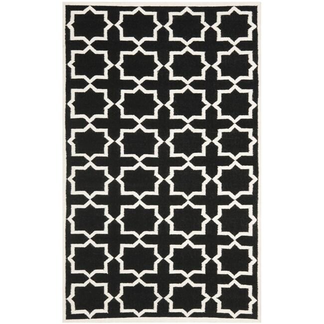 Safavieh Moroccan Reversible Dhurrie Transitional Black/Ivory Wool Rug (9' x 12')