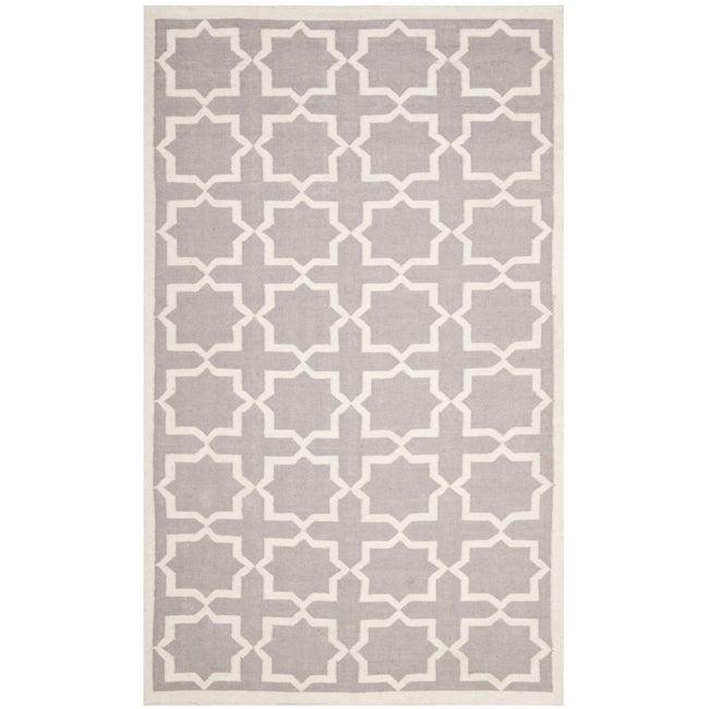 Safavieh Moroccan Reversible Dhurrie Grey/Ivory Cross Pattern Wool Rug - 9' x 12'