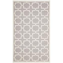 Safavieh Moroccan Reversible Dhurrie Grey/Ivory Cross Pattern Wool Rug (9' x 12') - Thumbnail 0