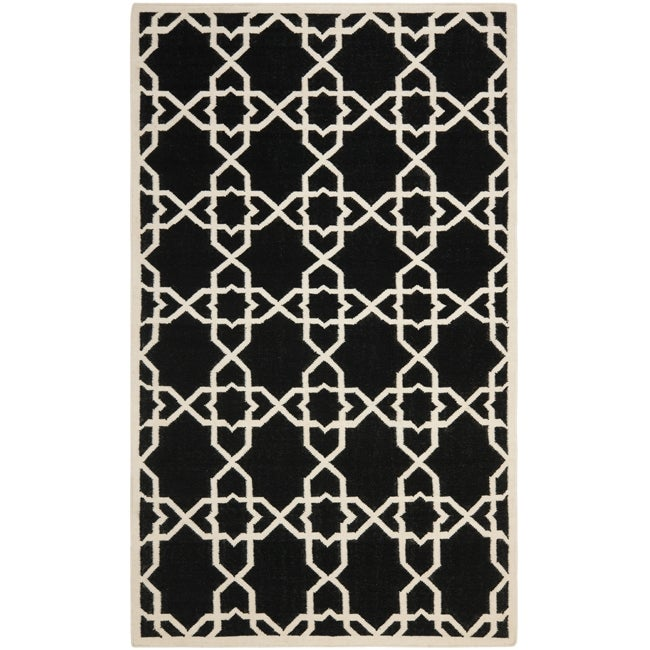 Safavieh Moroccan Reversible Dhurrie Black/Ivory Transitional Wool Rug - 8' x 10'
