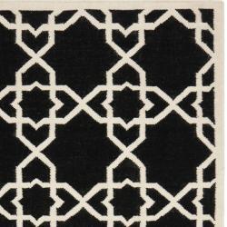 Safavieh Moroccan Reversible Dhurrie Black/Ivory Transitional Wool Rug (8' x 10')