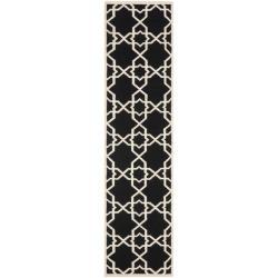 Safavieh Hand-woven Moroccan Reversible Dhurrie Black/ Ivory Wool Rug (2'6 x 12')