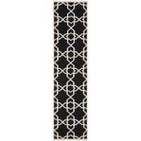 Safavieh Moroccan Reversible Dhurrie Black and Ivory Geometric-Patterned Wool Runner Rug - 2'6 x 10'