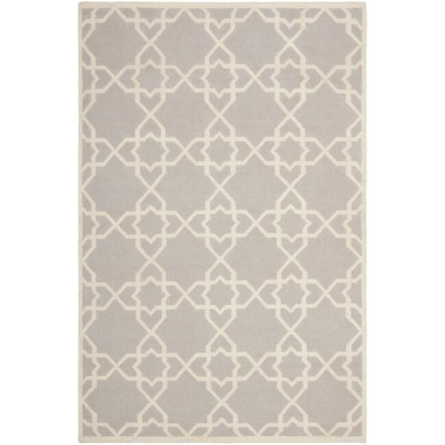 Safavieh Moroccan Reversible Dhurrie Grey/Ivory Geometric Pattern Wool Rug - 9' x 12'