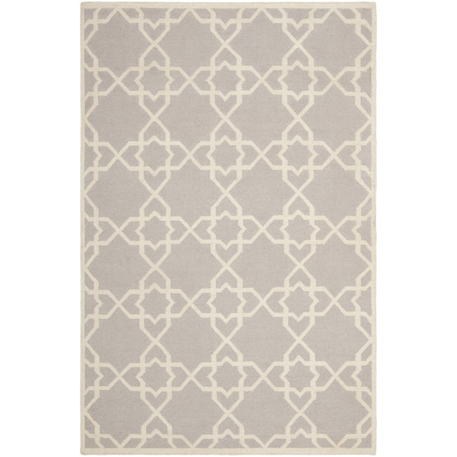 Safavieh Hand-Woven Moroccan Reversible Dhurrie Grey/Ivory Wool Rug (6' x 9')