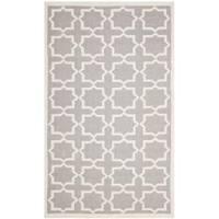 Safavieh Handwoven Moroccan-inspired Reversible Dhurrie Grey/ Ivory Wool Rug - 8' x 10'