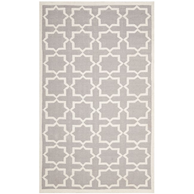 Safavieh Handwoven Moroccan Reversible Dhurrie Grey/ Ivory Wool Area Rug (5' x 8') - Thumbnail 0