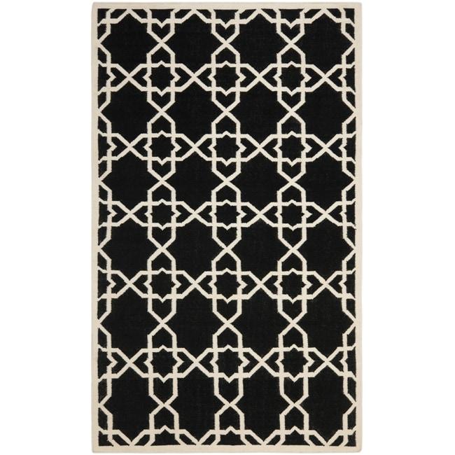 Safavieh Moroccan Reversible Dhurrie Geometric Black/Ivory Wool Rug (9' x 12')