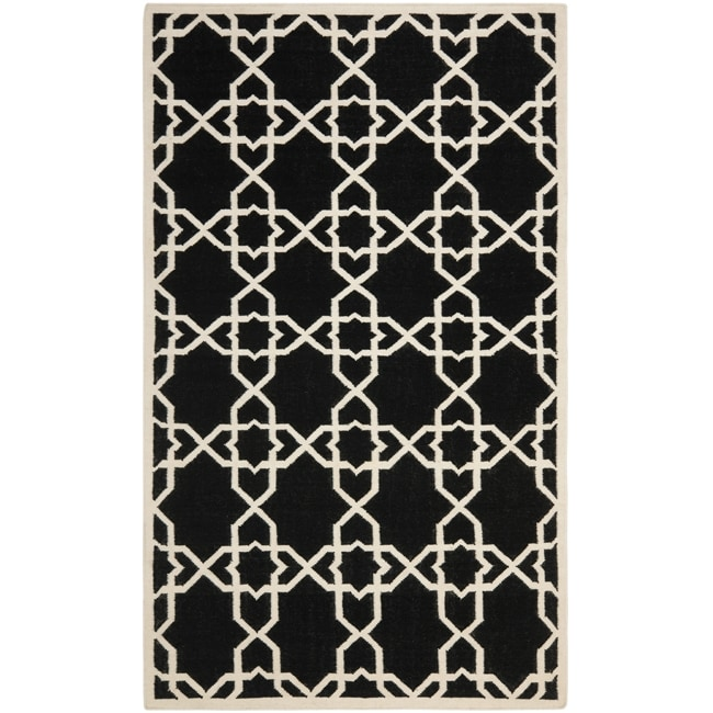Safavieh Moroccan Reversible Dhurrie Transitional Black/Ivory Wool Rug - 10' x 14'