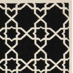 Safavieh Moroccan Reversible Dhurrie Transitional Black/Ivory Wool Rug (10' x 14') - Thumbnail 1