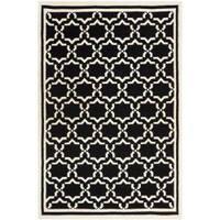 Safavieh Moroccan Reversible Dhurrie Black/Ivory Rectangular Wool Rug - 4' x 6'