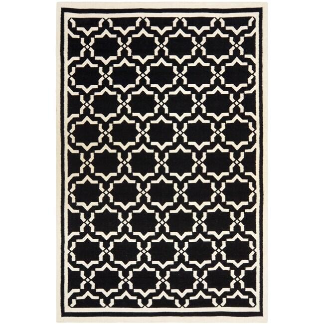 Safavieh Moroccan Reversible Dhurrie Black/Ivory Wool Area Rug - 10' x 14'