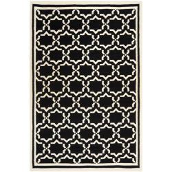 Safavieh Moroccan Reversible Dhurrie Black/Ivory Wool Area Rug (10' x 14') - Thumbnail 0