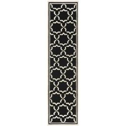 Safavieh Geometric Handwoven Moroccan Reversible Dhurrie Black/ Ivory Wool Rug (2'6 x 12')