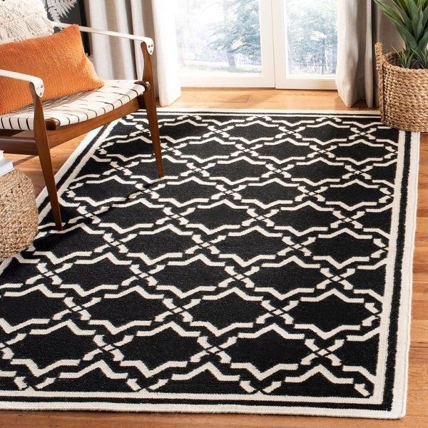 Safavieh Hand-woven Dhurrie Flatweave Trellis Black/ Ivory Wool Rug - 8' X 10'