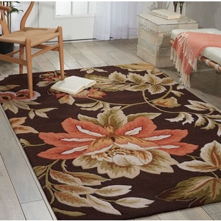 "Nourison Hand-Hooked Fantasy Brown Polyacrylic Rug (3'6"" x 5'6"")"