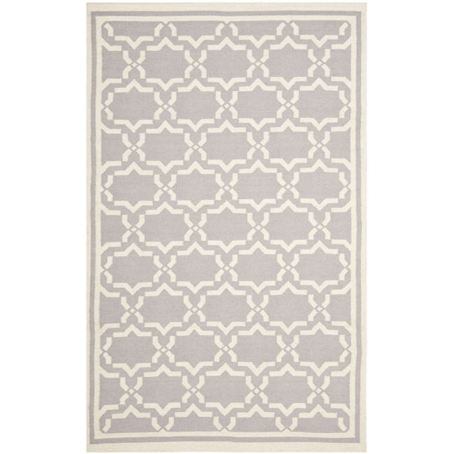 Safavieh Hand-woven Moroccan Reversible Dhurrie Grey/ Ivory Wool Rug - 8' x 10'