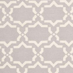 Safavieh Hand-woven Moroccan Reversible Dhurrie Grey/ Ivory Wool Rug (8' x 10') - Thumbnail 2