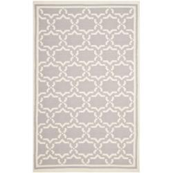Safavieh Hand-woven Moroccan Reversible Dhurrie Grey/ Ivory Wool Rug - 8' x 10' - Thumbnail 0