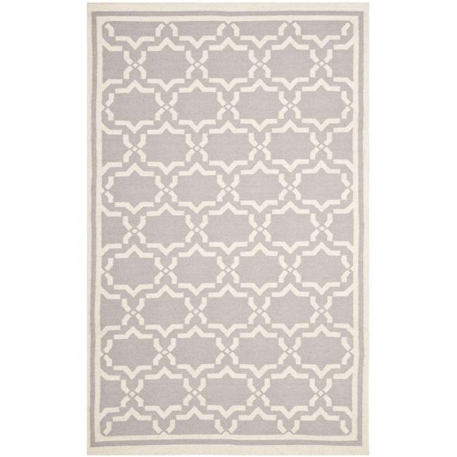 Safavieh Moroccan Reversible Dhurrie Grey/Ivory Pure Wool Rug (4' x 6')
