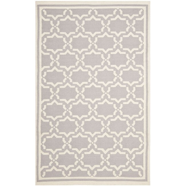 Safavieh Handwoven Moroccan Reversible Dhurrie Grey/ Ivory Wool Area Rug (10' x 14') - Thumbnail 0