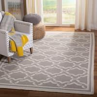 Safavieh Hand-woven Dhurrie Flatweave Trellis Grey/ Ivory Wool Rug - 10' x 14'