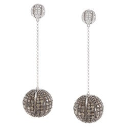 Victoria Kay 18k White Gold 5 7/8ct TDW Brown and White Diamond Ball Earrings (HI, SI1)
