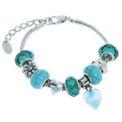 Eternally Haute Silver-plated Metal/Turquoise Gemstone Charm Bracelet