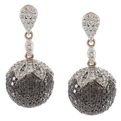 Victoria Kay 14k Gold 2 1/2ct TDW Black and White Diamond Drop Earrings