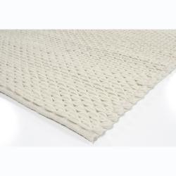 Hand-woven Diya Abstract Ivory Wool Rug (7'9 x 10'6)