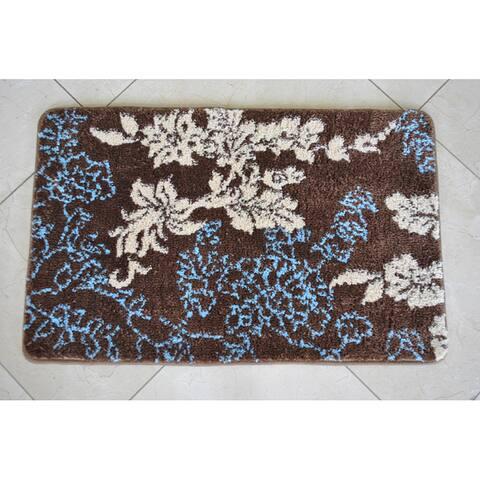 Memory Foam Brown/ Light Blue Floral 20 x 32 Bath Mat - 1'8 x 2'8