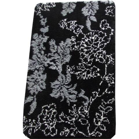 Memory Foam Black/ Grey Floral 20 x 32 Bath Mat - 1'8 x 2'8