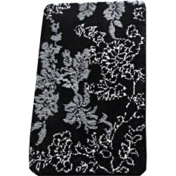 Shop Memory Foam Black Grey Floral 20 X 32 Bath Mat On