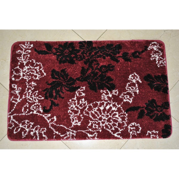 Memory Foam Burgundy Floral 20 X 32 Bath Mat Free