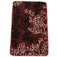 Memory Foam Burgundy Floral 20 x 32 Bath Mat