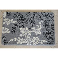 Memory Foam Grey/ White Floral 20 x 32 Bath Mat
