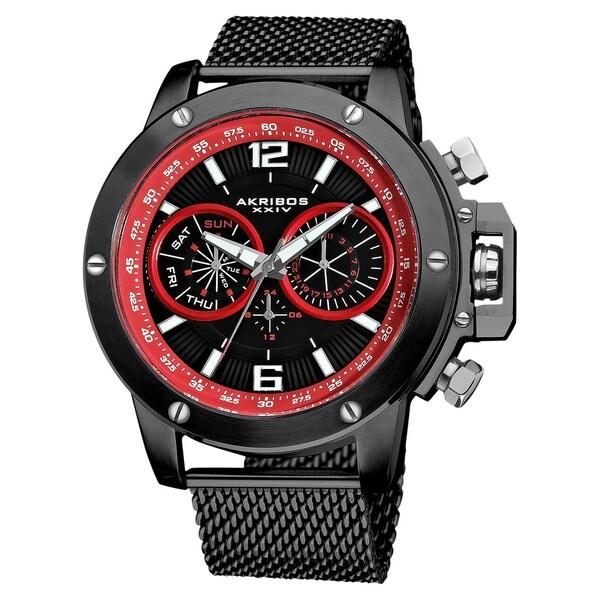 Akribos XXIV Men's Mesh Black Bracelet Multifunction Watch with FREE GIFT