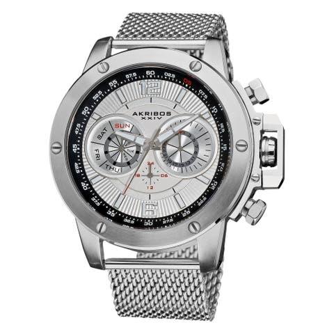 Akribos XXIV Men's Mesh-Bracelet Multifunction Watch with Silver Dial