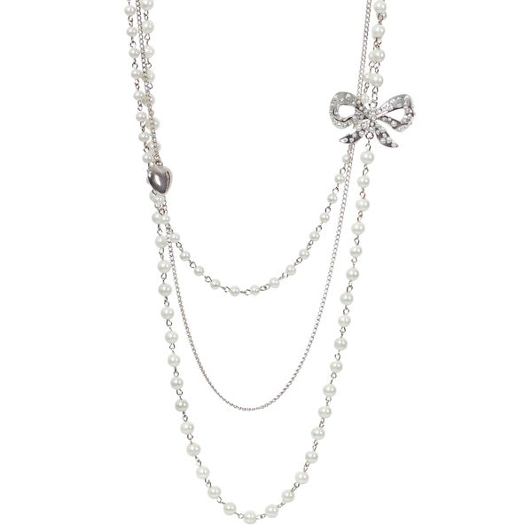 Journee Collection Silvertone White Faux Pearl Bow and Heart Necklace