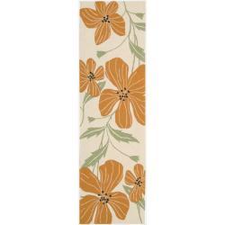"Nourison Hand-Hooked Fantasy Ivory Floral-Print Rug (2'3"" x 8')"