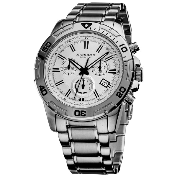 Akribos XXIV Men's Stainless-Steel Swiss Quartz Chronograph Divers Watch with Black Markers