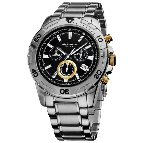 Akribos XXIV Men's Stainless-Steel Swiss Quartz Chronograph Divers Watch with Gold Accents